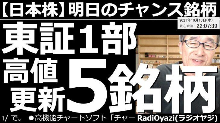 【日本株-明日のチャンス銘柄】日経平均の売買ポイント、東証1部の高値更新5銘柄、強い5銘柄、ど天井&ど底銘柄、システムトレードのシグナル点灯銘柄、カラ売り候補10銘柄などを、ピックアップして紹介する。